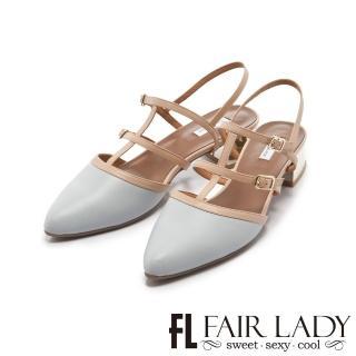 【FAIR LADY】優雅小姐Miss Elegant 魚骨造型繫帶尖頭低跟鞋(藍、402249)
