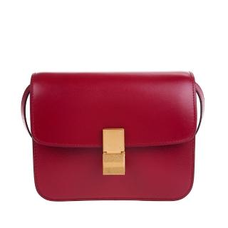 【CELINE】新款TEEN CLASSIC BOX 頂級小牛皮金釦肩背/斜背包(紅色)