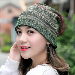 【89 zone】法式優雅透氣棉紗薄款套頭防風/頭巾帽(墨綠)