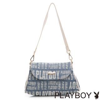 【PLAYBOY】肩背包 玩字系列(藍色)