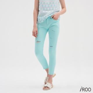 【iROO】湖水藍刷破牛仔褲/