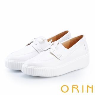 【ORIN】質感縫線牛皮厚底帆船鞋(白色)
