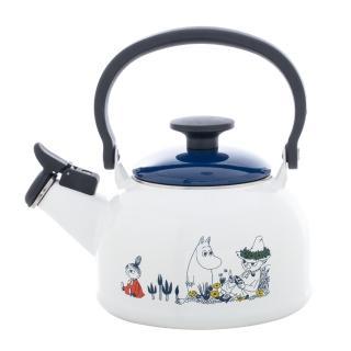 【FUJIHORO】日本富士琺瑯  嚕嚕米笛音琺瑯燒水壺 1.6L(笛音壺/燒水壺/琺瑯壺)