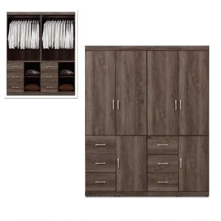 【MUNA 家居】凱爾 5.4 X 7尺灰橡色衣櫥(衣櫃)