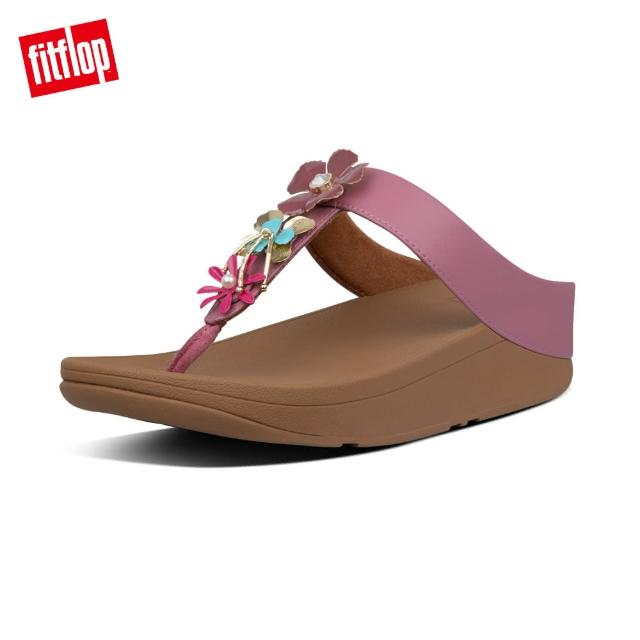 【FitFlop】FINO METALLIC-FLOWER TOE-THONGS 金屬花飾夾腳涼鞋-女(櫻花粉)