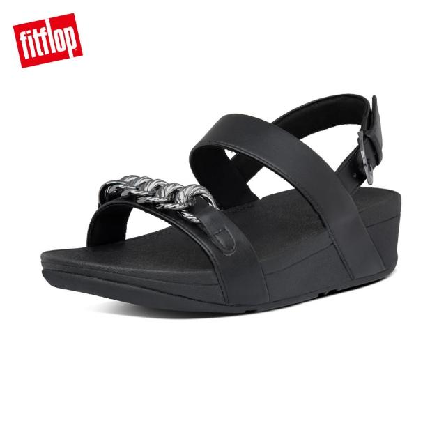 【FitFlop】LOTTIE CHAIN BACK-STRAP SANDALS 復古鎖鏈後帶涼鞋-女(靚黑色)