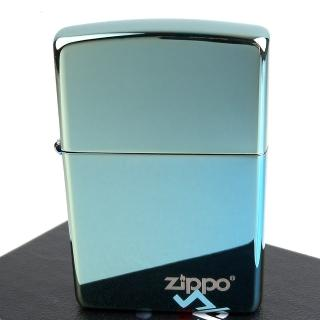 【Zippo】美系~超質感Teal青綠色鏡面LOGO字樣打火機