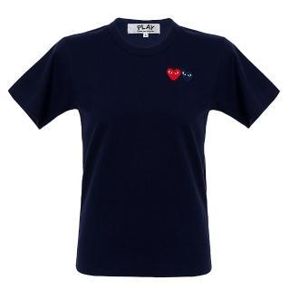 【川久保玲】Comme des PLAY系列 刺繡雙愛心 基本款 深藍色 圓領T恤