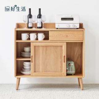 【hoi!】原木日式白橡木實木雙門玻璃餐邊櫃