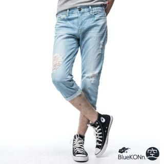 【BLUE WAY】刷破八分丹寧牛仔褲_空