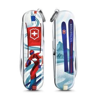 【VICTORINOX 瑞士維氏】限量迷你7用印花瑞士刀(滑雪比賽 06223.L2008)