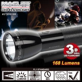 【MAG-LITE】美式警用防身手電筒 黑色 168流明 3D CELL LE(#ST3D016R)