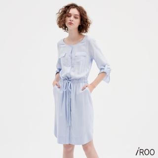 【iROO】圓領襯衫式洋裝