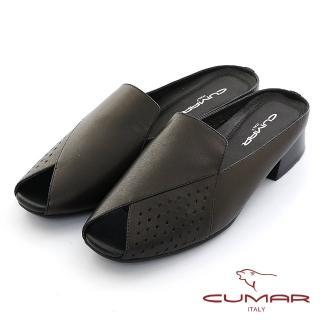 【CUMAR】小方頭雷射沖孔樂福鞋面魚口後空穆勒鞋(黑色)