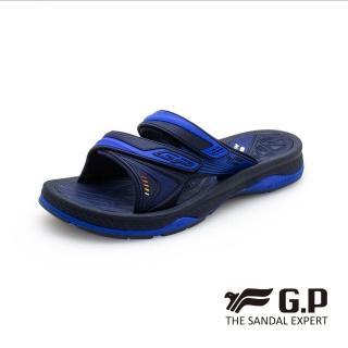【G.P】男 鐵漢柔情男性雙帶拖鞋 男鞋(藍)