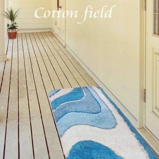 【棉花田】神采純棉提花走道毯-淡藍色(45x135cm-快速到貨)