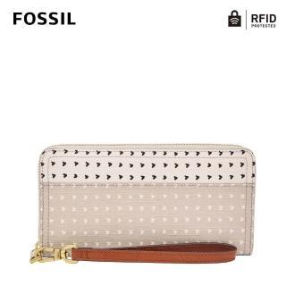 【FOSSIL】Logan 多層真皮拉鍊RFID防盜長夾-杏色愛心斑點 SL7828745