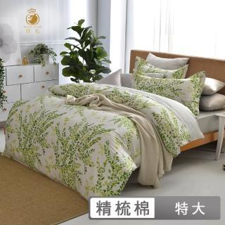 【ROYALCOVER】純棉四件式兩用被床包組 青青碧綠(特大)