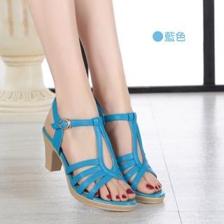 【J&H collection】夏季新款真皮露趾高粗跟涼鞋(現+預  黑色 / 米色 / 藍色)
