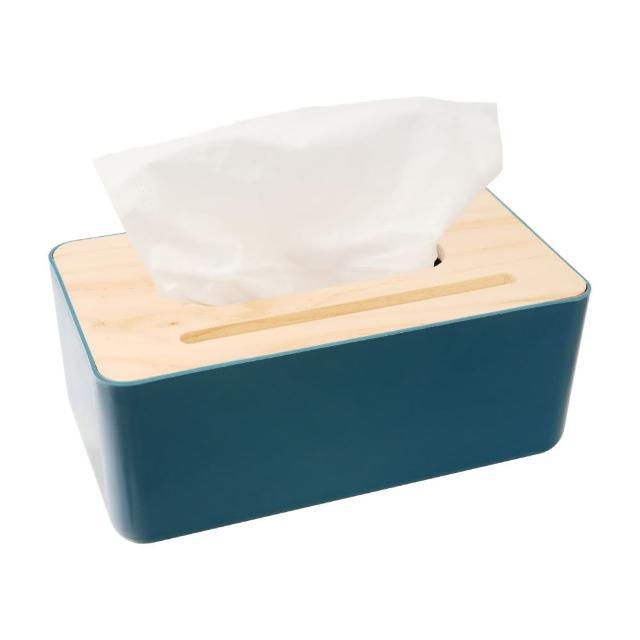 北歐風木質面紙盒-灰藍/