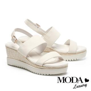 【MODA Luxury】自然清新派摔紋牛皮厚底涼鞋鞋(米白)