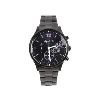 【agnes b.】蜥蜴圖騰三眼計時腕錶(黑/ 紫時標)