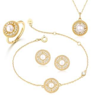 【RJ New York】華麗圓舞曲S925銀珍珠項鍊手鍊耳環戒指四件套組(金色)
