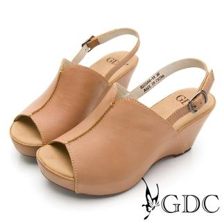 【GDC】真皮磨砂素色基本摩登開衩舒適楔型後帶厚底涼鞋-卡其色(922344)