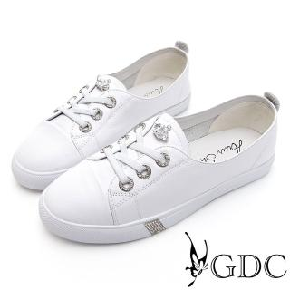 【GDC】GDC-經典百搭小皇冠俏皮可愛平底超舒適Q彈休閒鞋-白色(014568)