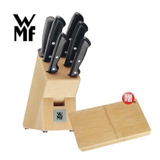 【德國WMF】刀具六件套組加刀座+竹製砧板45x28cm