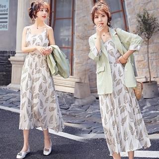 【SZ】百褶收腰吊帶印花洋裝+翻領氣質外套M-XL(共二色)