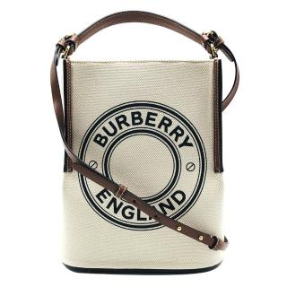 【BURBERRY 巴寶莉】新款標誌帆布peggy手提/肩背二用包(米白)