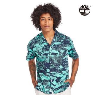 【Timberland】男款比斯開灣綠夏日森林府綢短袖襯衫(A2BBDAF0)/