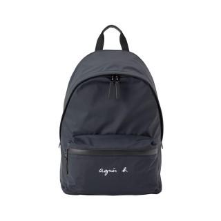 【agnes b.】Fred系列防潑水尼龍多夾層中性款後背包(黑)