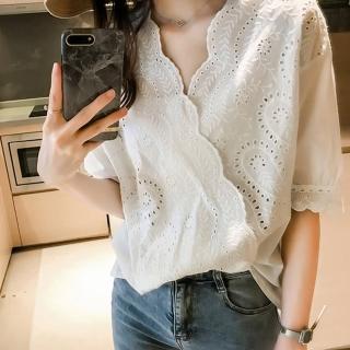 【MsMore】韓國美人時尚雕花花瓣蕾絲上衣#106760現貨+預購(白色)