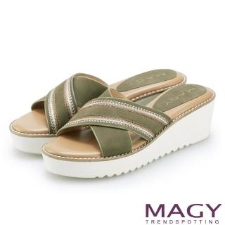 【MAGY】異國繡線寬版交叉牛皮厚底拖鞋(綠色)