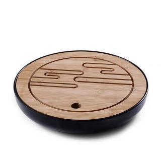 【古緣居】竹韻乾泡圓形流雲茶盤(25.5x4.5cm 兩色任選)