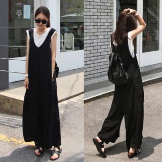 【Alishia】夏裝新款休閒棉麻闊腿吊帶九分褲(現+預  黑色)