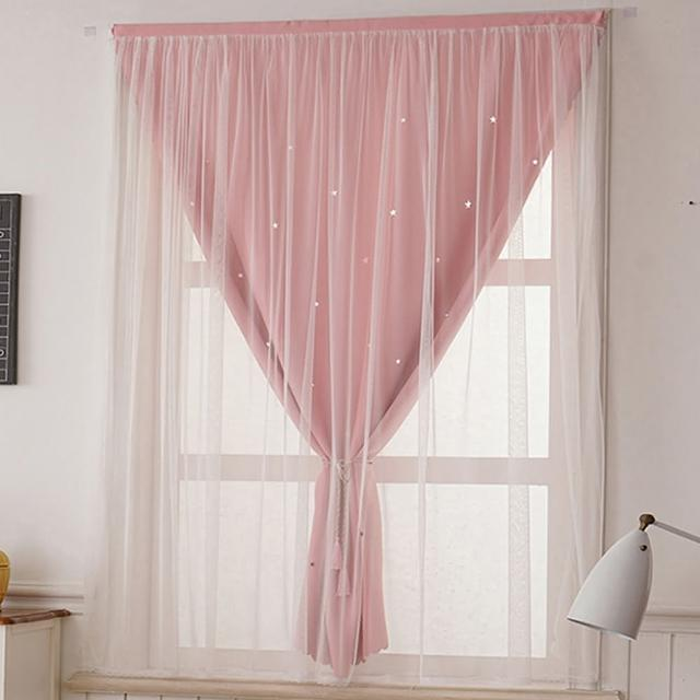優雅雙層星星魔鬼氈窗簾