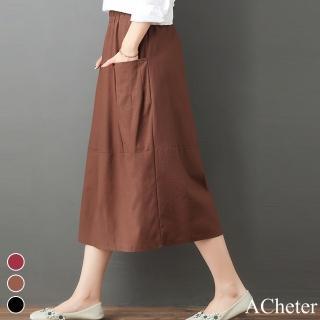 【ACheter】恬雅文青鬆緊腰頭涼爽棉麻長裙#106808現貨+預購(3色)