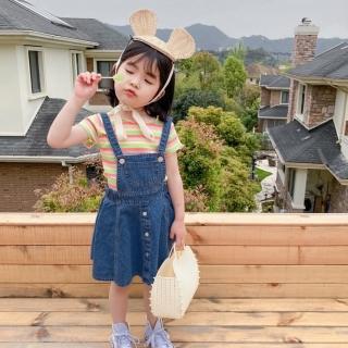 【橘魔法】女童 兒童 散擺牛仔裙吊帶裙 吊帶裙 洋裝(牛仔裙 裙子 連身裙 女童 中童 橘魔法 現貨)
