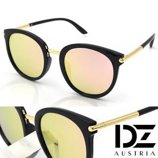 【DZ】UV400防曬偏光太陽眼鏡墨鏡-風尚圓柱(黑框金粉膜)