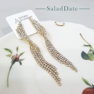 【SaladDate】正韓 扭結鑲鑽流蘇鋯石銀針垂墜耳環-金色(耳針/韓國/鑽飾/貴婦風/韓系/925銀針)