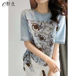 【初色】時尚復古印花綁帶T恤-淺藍色-96204(M-2XL可選)