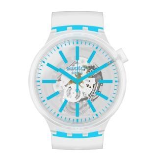 【SWATCH】BIG BOLD系列手錶 BLUEINJELLY 透淨藍(47mm)