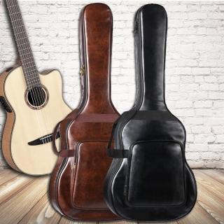 【美佳音樂】仿皮/厚棉/雙肩背帶/防水 高級民謠吉他袋-2色(40-41吋通用)