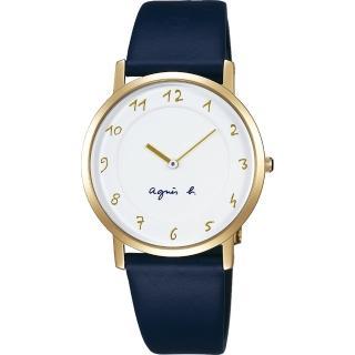 【agnes b.】法國時尚簡約手錶-白x金框x藍/34mm(7N00-KEX0B  BG4020P1)