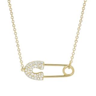 【apm MONACO】法國精品珠寶 閃耀晶鑽金色別針造型可調整長項鍊(兩款可選)