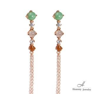 【幸福珠寶】『唯美流蘇』天然三色翡翠耳環(翡翠)