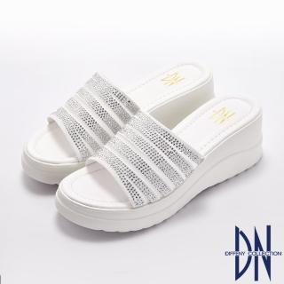 【DN】涼拖鞋_水鑽透膚網布厚底涼拖鞋(白)